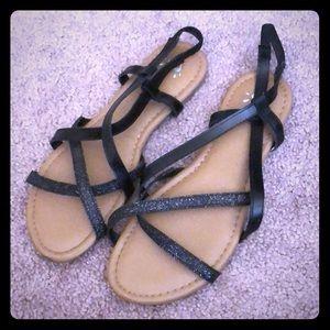 Girls Justice black sandals. Size 8